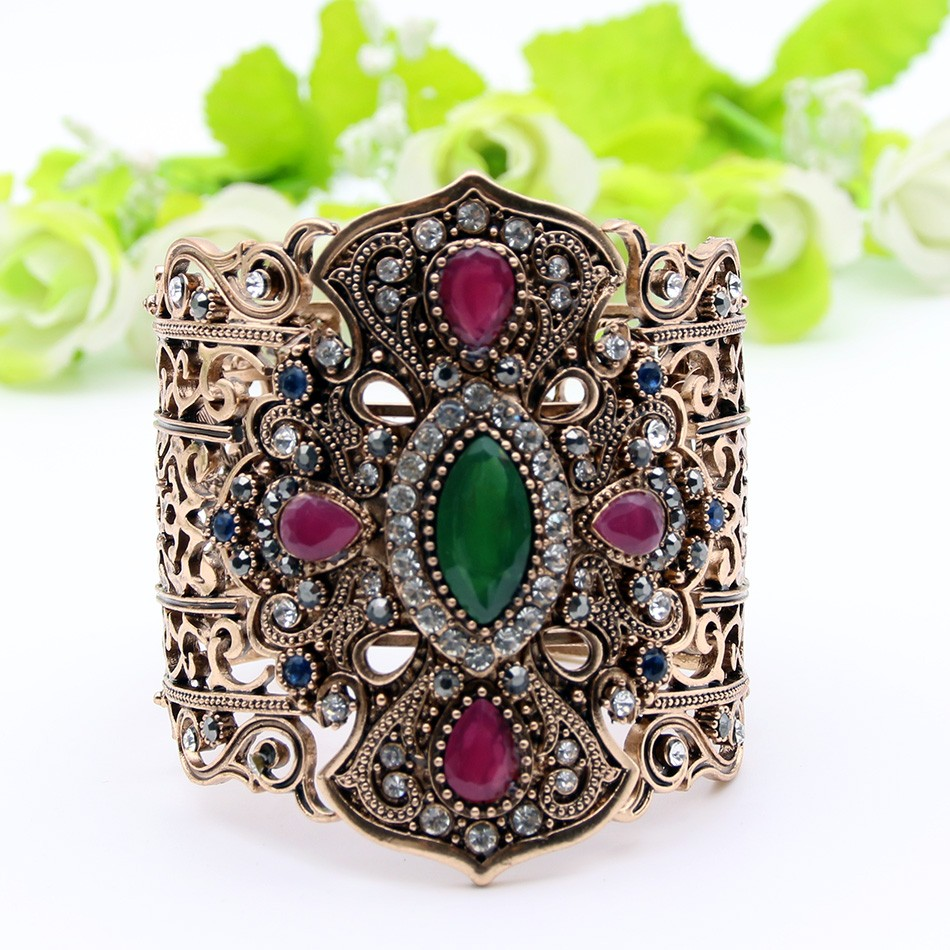 Arabian Vintage Turkish Bangle - green