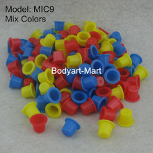 1000pcs 8mm Small Size Mix Colors Tattoo Ink Cups Caps Blue Yellow Red Ink Cup Cap Supply MIC9-1000#