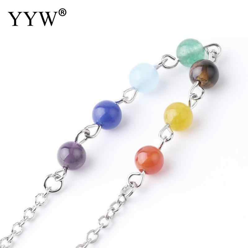 YYW Classic Yoga Bracelet Jewelry For Women Reiki Healing Natural Gem Stone Colorful Rosary Mala Beads Lobster Clasp Hand Chain