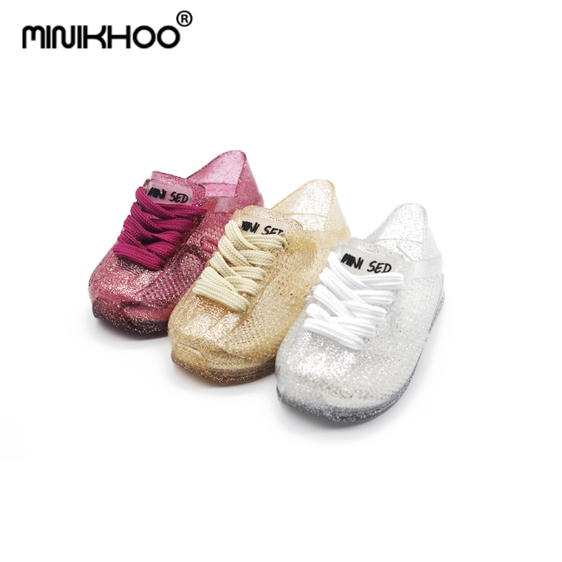 Mini Melissa With Shoelaces Sports Sandals Girls Jelly Shoes Jelly Sandals For Girls Breathable 14cm-16.5cm Beach Sandals