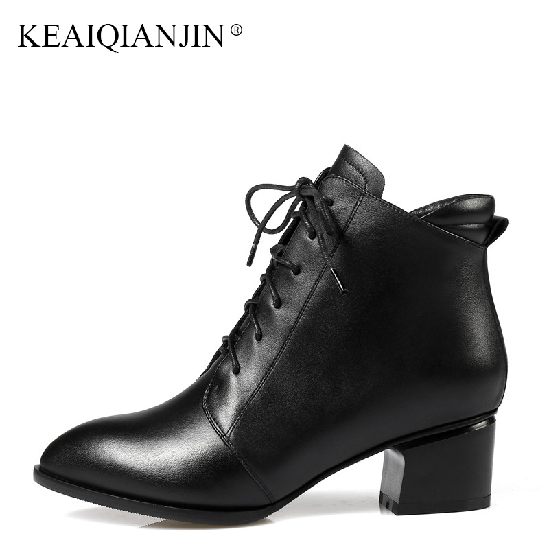 KEAIQIANJIN Woman Red Lace Up Marten Ankle Boots Pointed Toe Genuine Leather Ankle Boots Autumn Winter Black High Heeled Shoes
