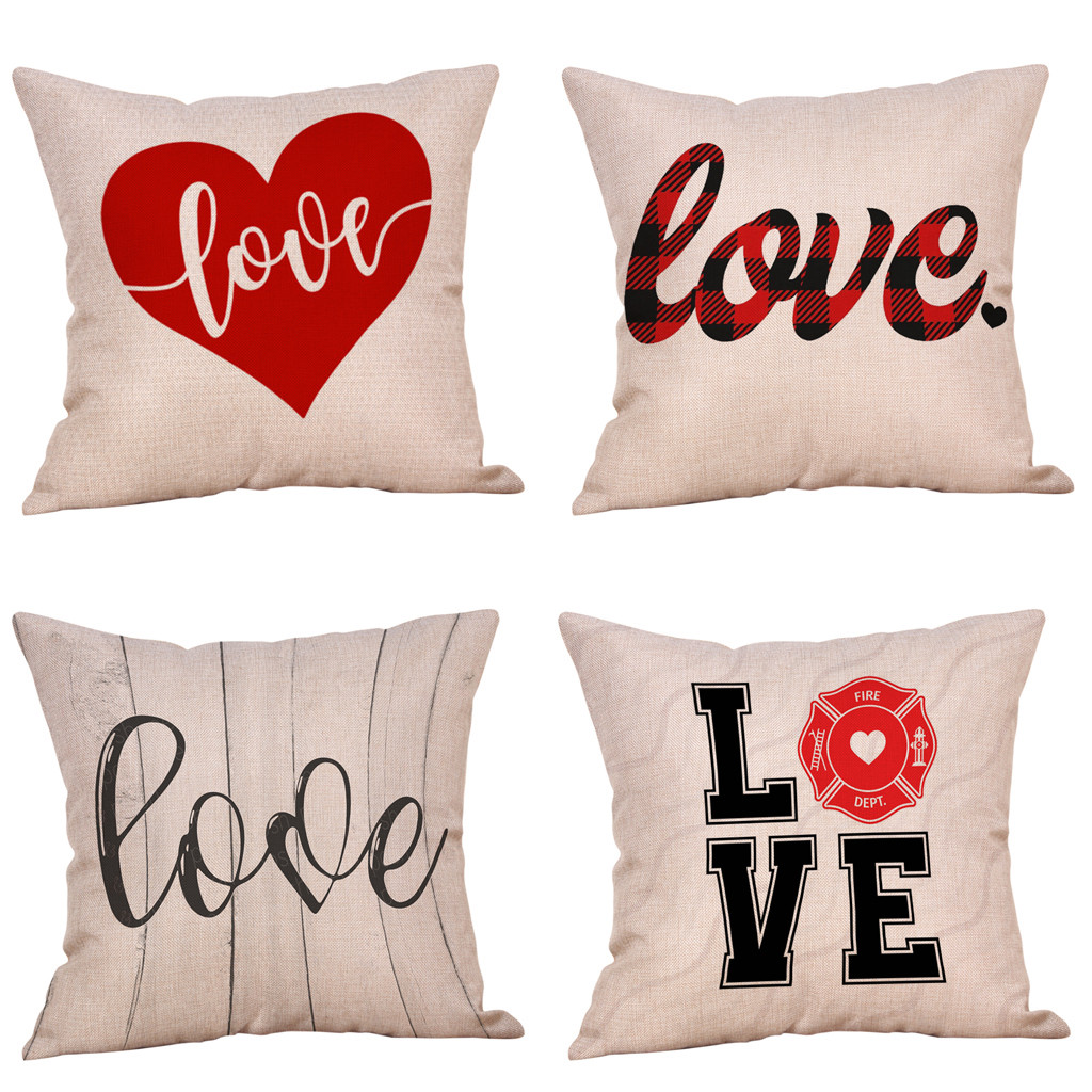 4Pcs Happy Valentine's Day Pillow Case Sweet Love Square Cushion Cover Pillow Shams Bed Sofa Adults 45 X 45 CM Cushion Cover