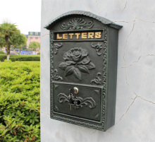 Antique Wall Mount Cast Iron Flower Mailbox Embossed Trim Decor Dark Green Look Free Shipping Rural Metal Mail Post Box Outdoor