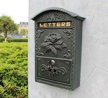 Antique Mailbox Wall Mount Cast Aluminum Flower Outdoor Decorative Mail Box Dark Green Metal Lockable Vintage Home Postal Post