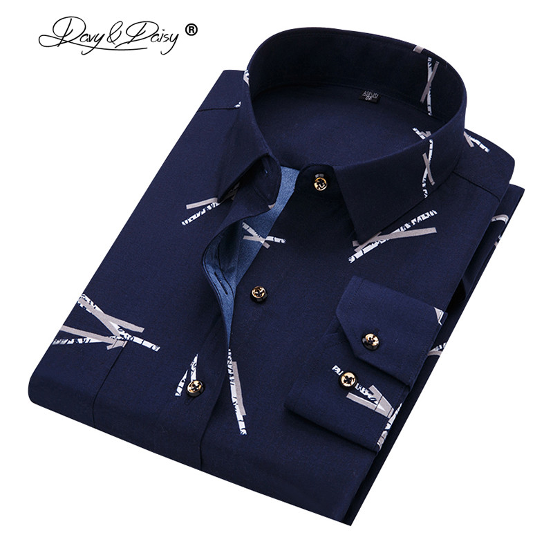Davydaisy Spring Men's Shirt Social Dress Print Casual Slim Fit Long Sleeve Shirts Men Clothes Camisa Masculina Ds-044