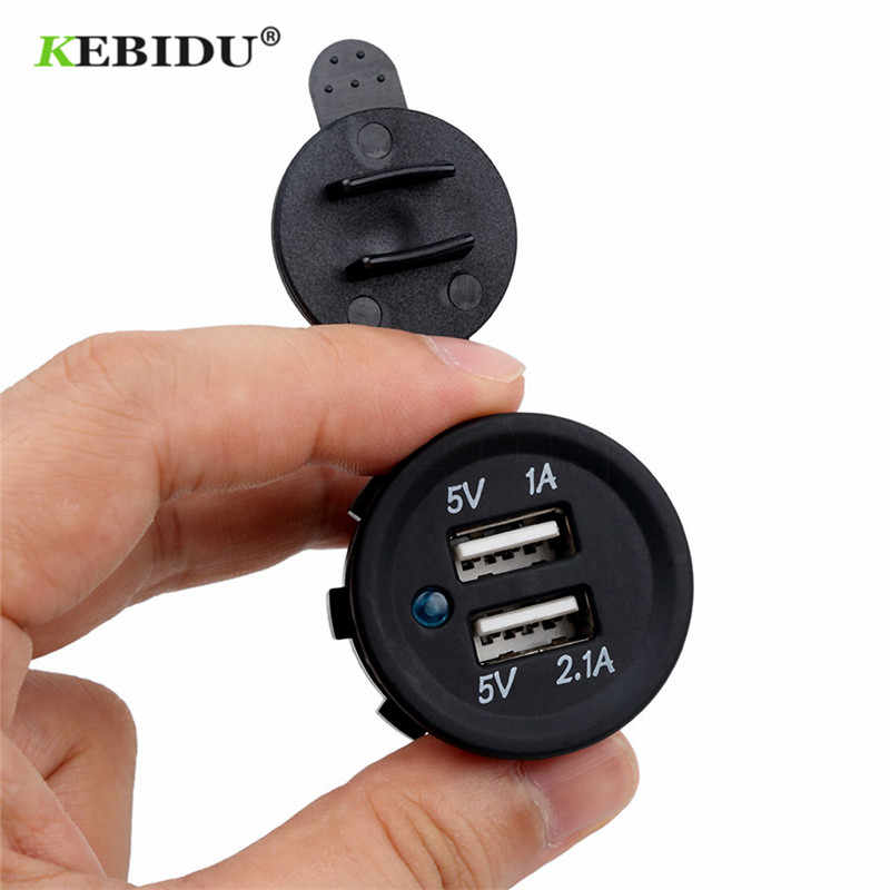 KEBIDU Universal Cigarette Lighter Car Charger USB Vehicle DC12V-32V Waterproof Dual USB Charger 2 Port Power Socket 5V 2.1A/1A