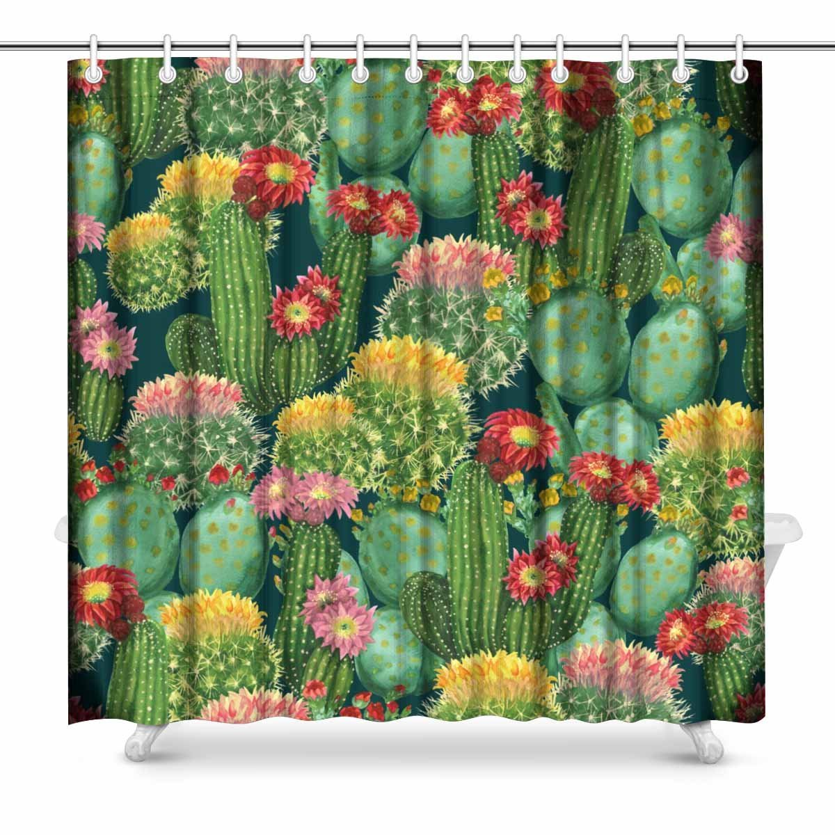 Us 14 18 34 Off Aplysia Blooming Cactus On Dark Green Design Art Print Deco Print Polyester Fabric Shower Curtain 72 X 72 Inches In Shower Curtains