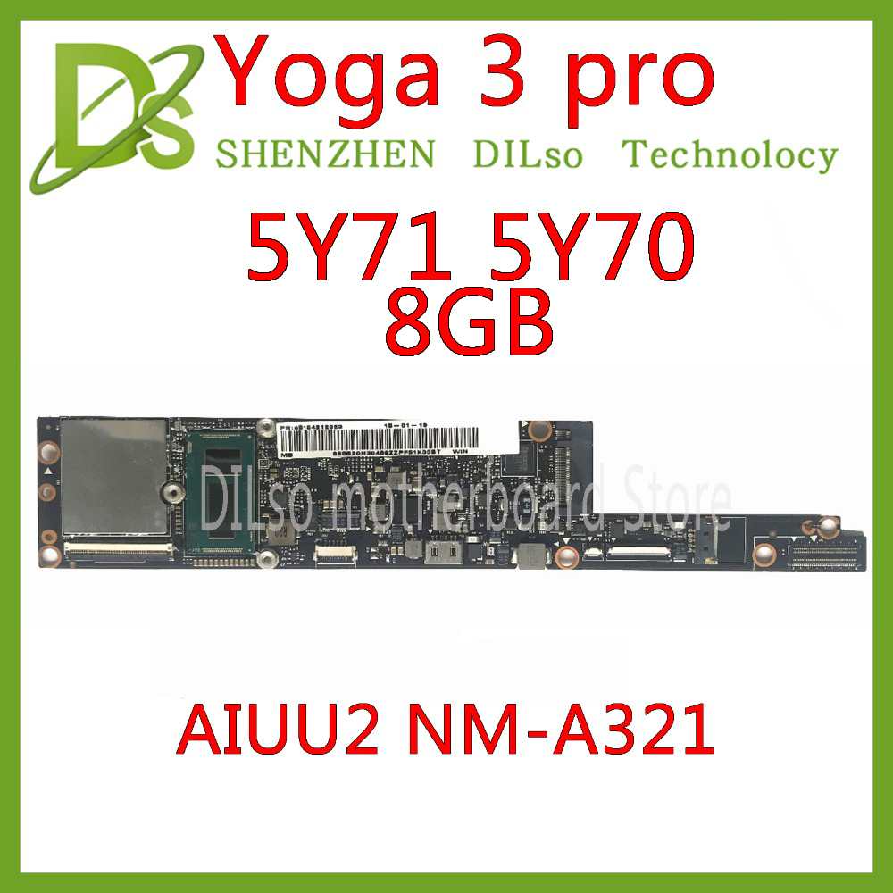 KEFU NM-A321 Motherboard For Lenovo Yoga 3 Pro Motherboard AIUU2 NM-A321 With M-5Y71/5Y70 CPU 8GB RAM Original Motherboard