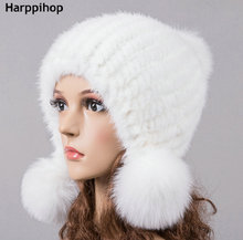 HARPPIHOP Multi- colored Mink Hat Womens Winter Fur Warm Ear Fashion Sweet Real Knitted Genuine Hair