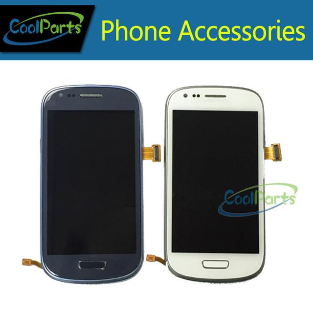 Azul escuro/branco para samsung s3 mini i8190 lcd screen display toque digitador assembléia com frame frete grátis 1 pc/lote