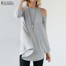 ZANZEA Women 2016 Spring Sexy Blusas Casual Loose O Neck Half Sleeve Long Blouses Tops Asymmetrical Off Shoulder Solid Shirts