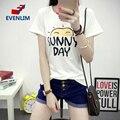 EVENLIM Simples Camiseta Mulheres Bonito O Pescoço T-shirt de Algodão Puro T-shirt de Manga curta Feminina Encabeça Branco Carta de Impressão Tops Tan DR0301