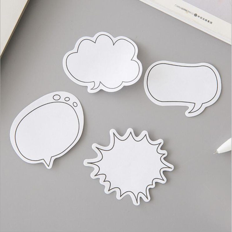 E01 4X Fresh Simple Dialog Box Memo Pads Sticky Notes School Office Supply Student Stationery Message Sticker Label Post It never creative sticky notes and memo pads set post it message tag fashion color business office accessories ladies stationery