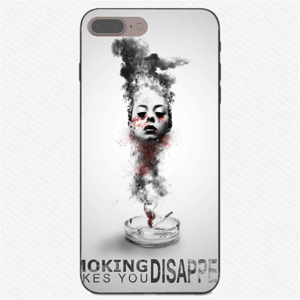 Top Gedetailleerde Populaire TPU Zwart Voor Apple iPhone X XS Max XR 4 4 S 5 5 S SE 6 6 S 7 8 Plus Custom Cool Cigaret Roken Doodt