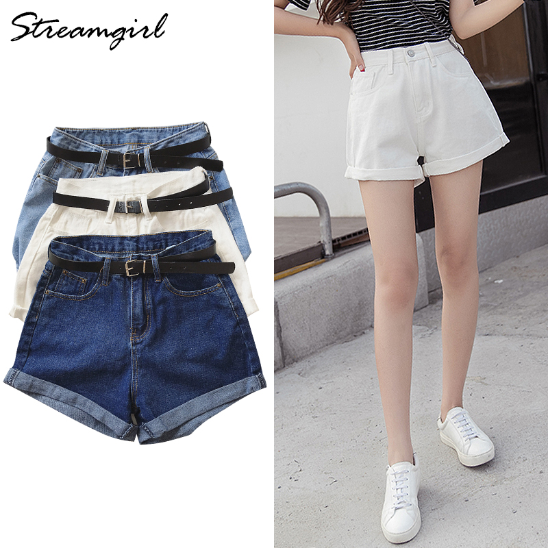 Streamgirl High Waist Shorts Denim Women Short Jeans White Vintage Denim Shorts High Waist For Women Black Short Feminino Summer