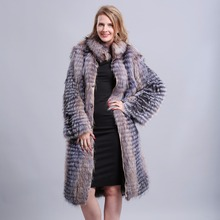 Real Fox Fur Coat Full Sleeve  stand collar 90cm  Natural Silver Fox Fur pelt women  fur coat
