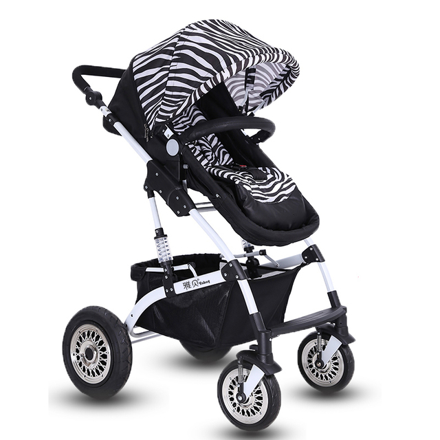 Baby Stroller High View 70CM Height Seat 4-Wheel Shock Absorbing Bi-Directional Sleeping Basket Infant Carriage Foldable Pram