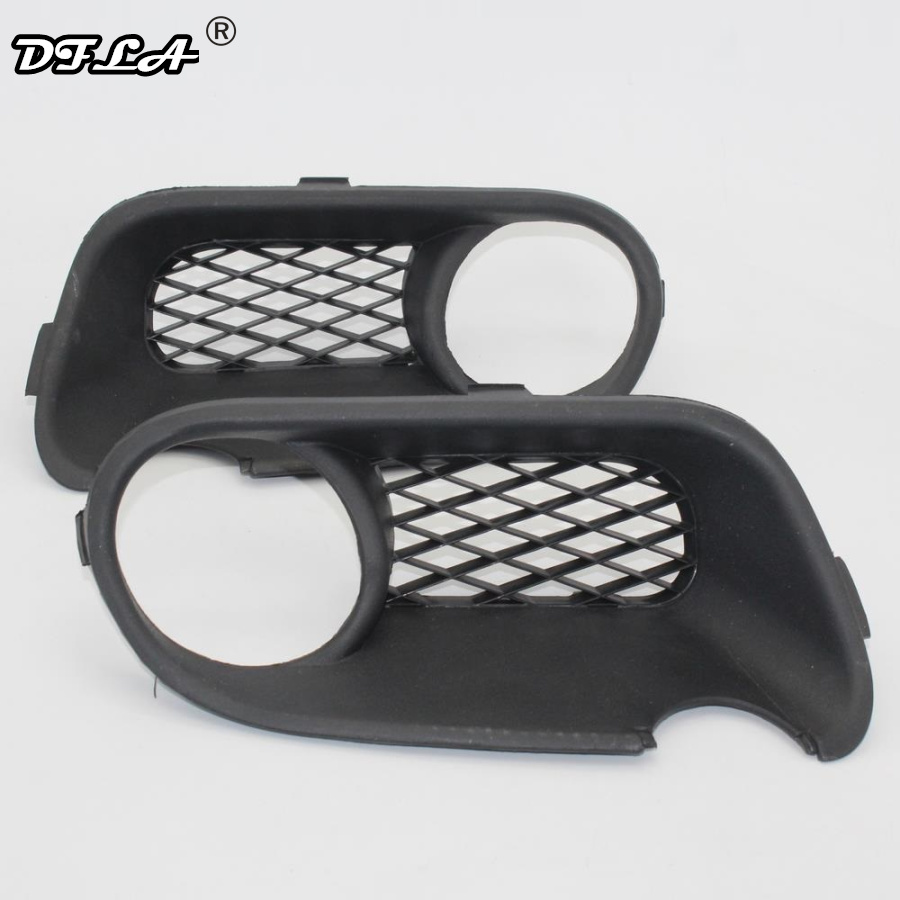 2pcs For VW Touareg 2003 2004 2005 2006 2007 Car-Styling Front Bumper Fog Lamp Fog Light Lower Grille Cover With Hole
