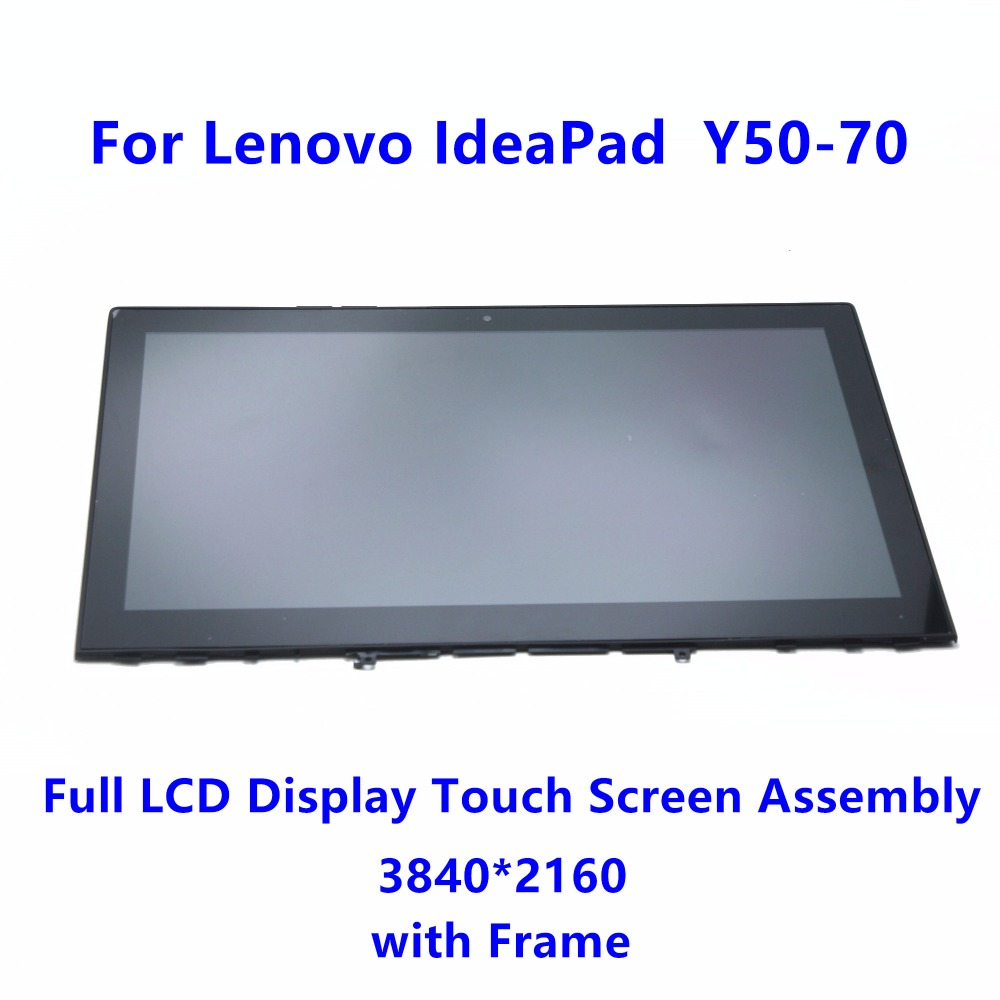 New 15.6 Full LCD Screen Display Touch Glass Panel Digitizer Assembly with Bezel For Lenovo IdeaPad Y50-70 20349 LP156WF4.SPL1 for lenovo s939 lcd display touch screen tools 100% new glass panel digitizer assembly replacement repair free shipping