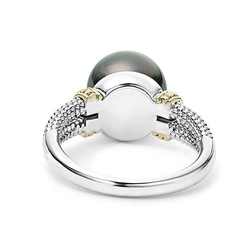 ZHOUYANG Rings For Women Elegant Perfect Round Gray Imitation Pearls Yellow Gold Silver Color Engagement Fashion Jewelry KBR431