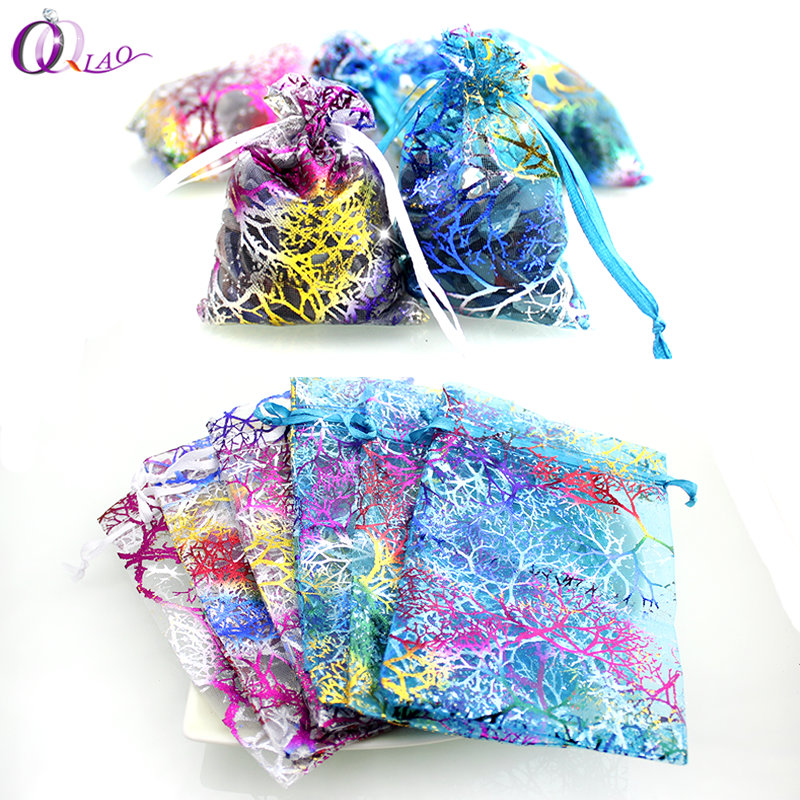 QIAO 7x9,9*12,10*15cm 100pcs/lot Small Organza Bags Favor Wedding Christmas Gift Bag Jewelry Packaging Bags & Pouches