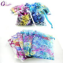 QIAO 7x9,9*12,10*15cm 100pcs/lot Small Organza Bags Favor Wedding Christmas Gift Bag Jewelry Packaging Bags & Pouches(China)