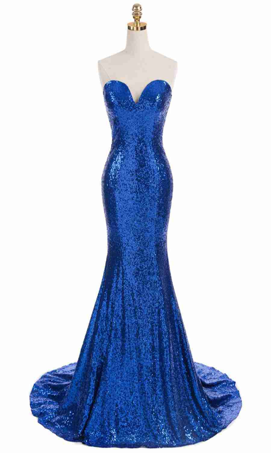 Sexy Blue Mermaid Sweetheart Backless Celebrity Dresses Red Carpet Sequin Sweep Train Evening Party Vestidos with Gala
