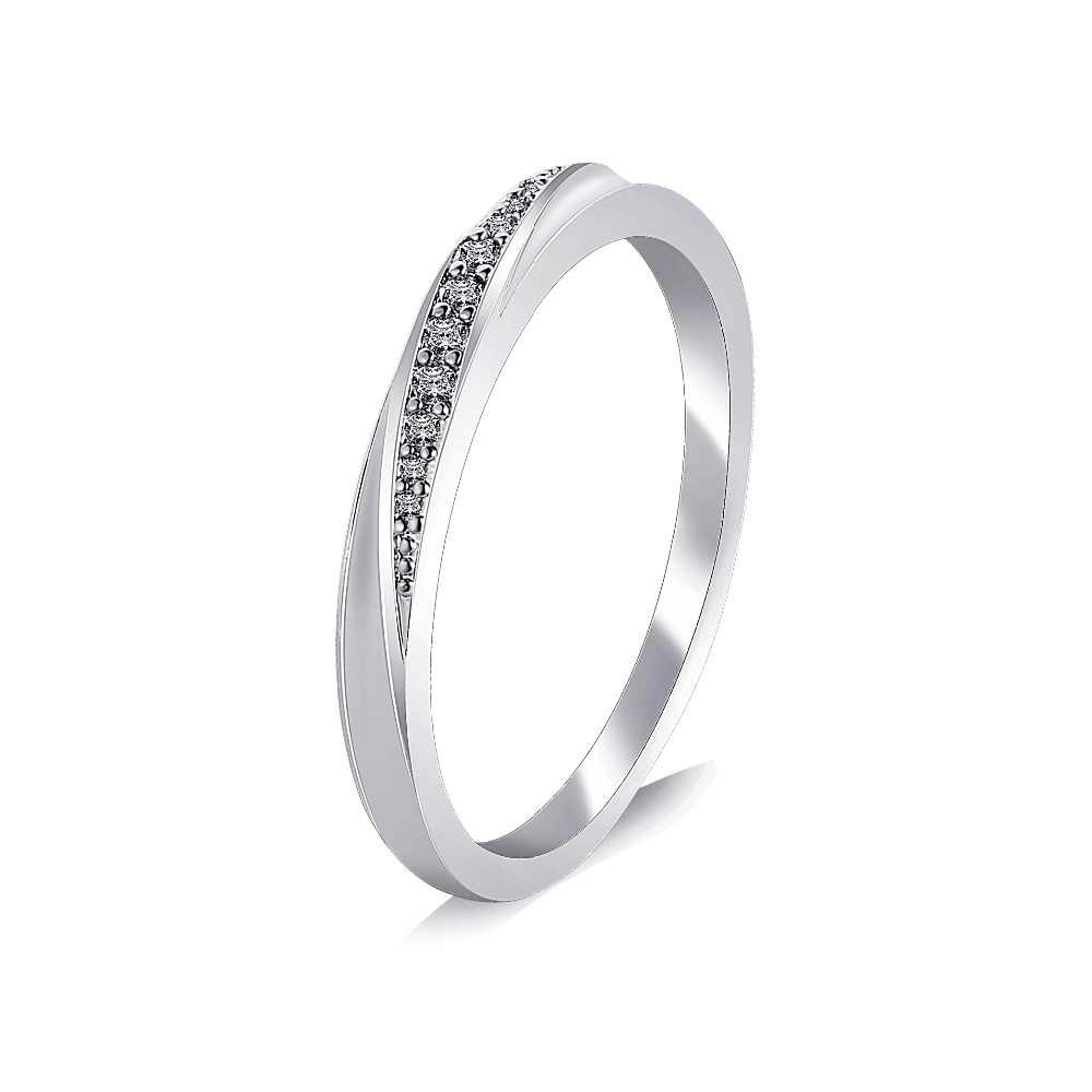 Mossovy ง่าย Rose Gold แหวนเงินผู้หญิงแหวน Cubic Zirconia แหวนคู่เครื่องประดับ Anillos Mujer Bague Femme