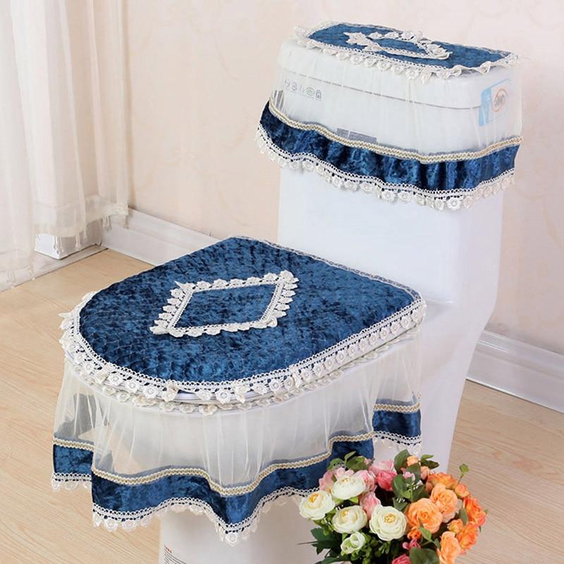 Renda tiga potong Set Toilet Seat Cover berbentuk U Mantel Penutup WC Dekorasi Rumah Kamar Mandi Toilet Tikar terdekatool merletto