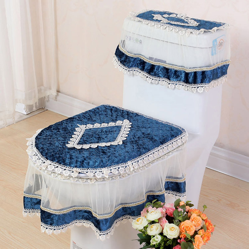 Lace Three-piece Set Toilet Seat Cover U-shaped Overcoat WC Cover Home Decor Bathroom Toilet Mats closestool merletto