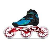 100% Оригинальные Bont полу RACE 2PT 195 мм CXXV скоростные роликовые коньки Heatmoldable углерода волокно загрузки 3*125 красный магия колеса Patines