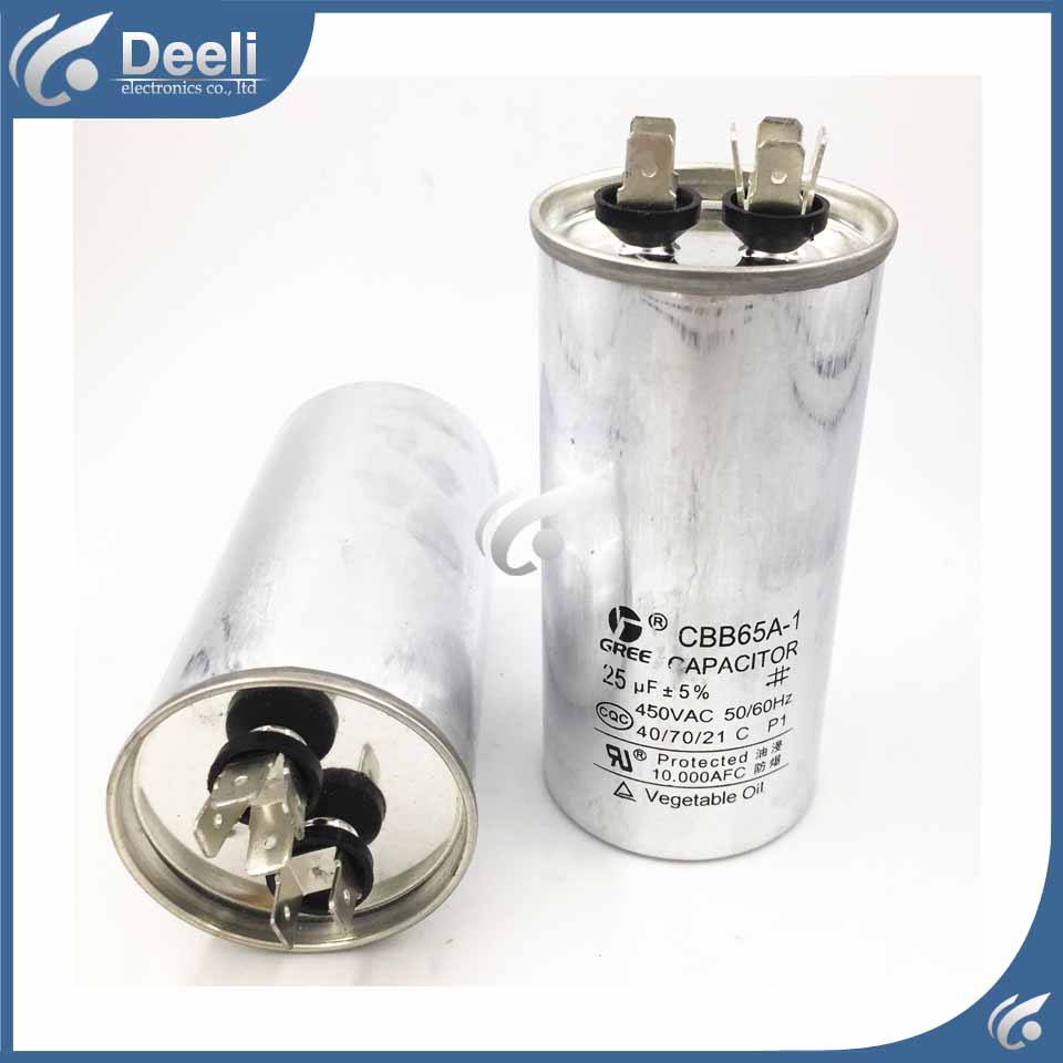 2pcs/lot new good working for Air conditioning capacitor CBB65A-1 CBB65 450VAC 25UF control board cbb65a explosion proof air conditioning compressor start capacitor 25uf30uf35uf40uf50uf60uf70uf80 450v