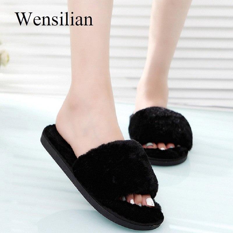 Mulheres Inverno Chinelos Peludos Fofo Fêmea Desliza Sandálias Das Senhoras Quentes Sapatos Fechados Chinelos dames pantoffels sapato feminino
