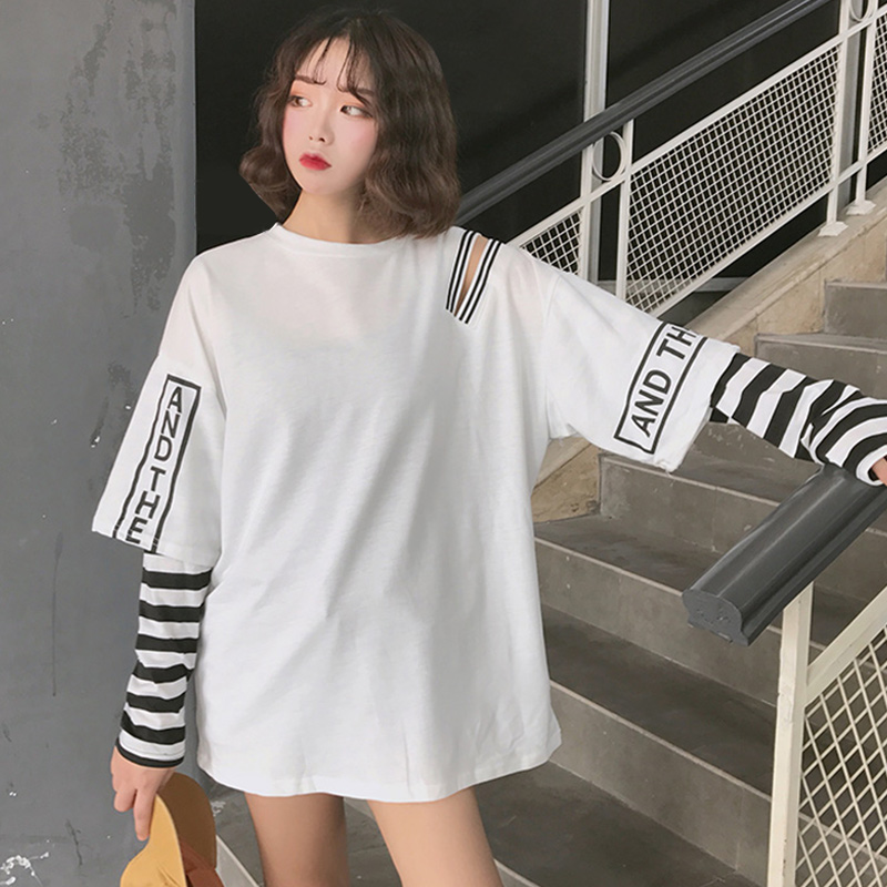 Striped Patchwork Women's Sweatshirt Hoodies Long Sleeve Hip Pop Cold Shoulder Women Hoody 2020 Spring Punk Woman Pullovers