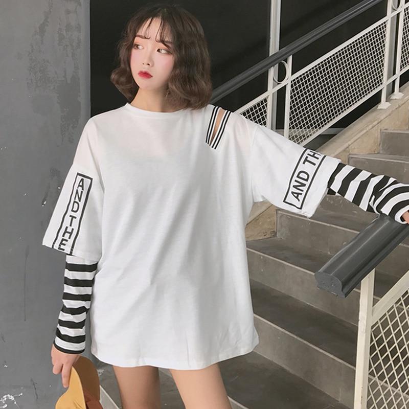 Striped Patchwork Women's Sweatshirt Hoodies Long Sleeve Hip Pop Cold Shoulder Women Hoody 2020 Spring Punk Woman Pullovers