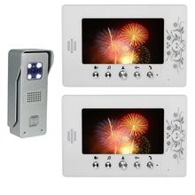 """7 """" LCD 2 unids Monitor Video de la puerta teléfono sistema de intercomunicación del timbre aleación de aluminio Home Security cámara de infrarrojos Intercom timbre de la puerta"""