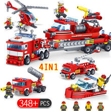 4 348pcs In 1 Fire Fighting Trucks Car Helicopter Boat Building Blocks Compatible Legoing City Firefighter Figures Toys For Boys(China)
