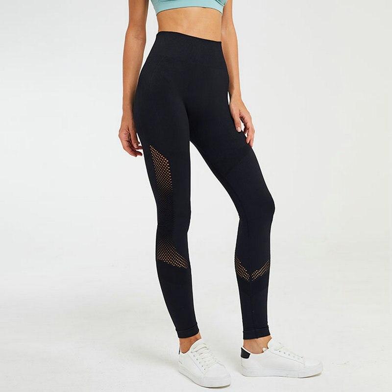 Leggings de Fitness Pants Black Mesh Patchwork Calças