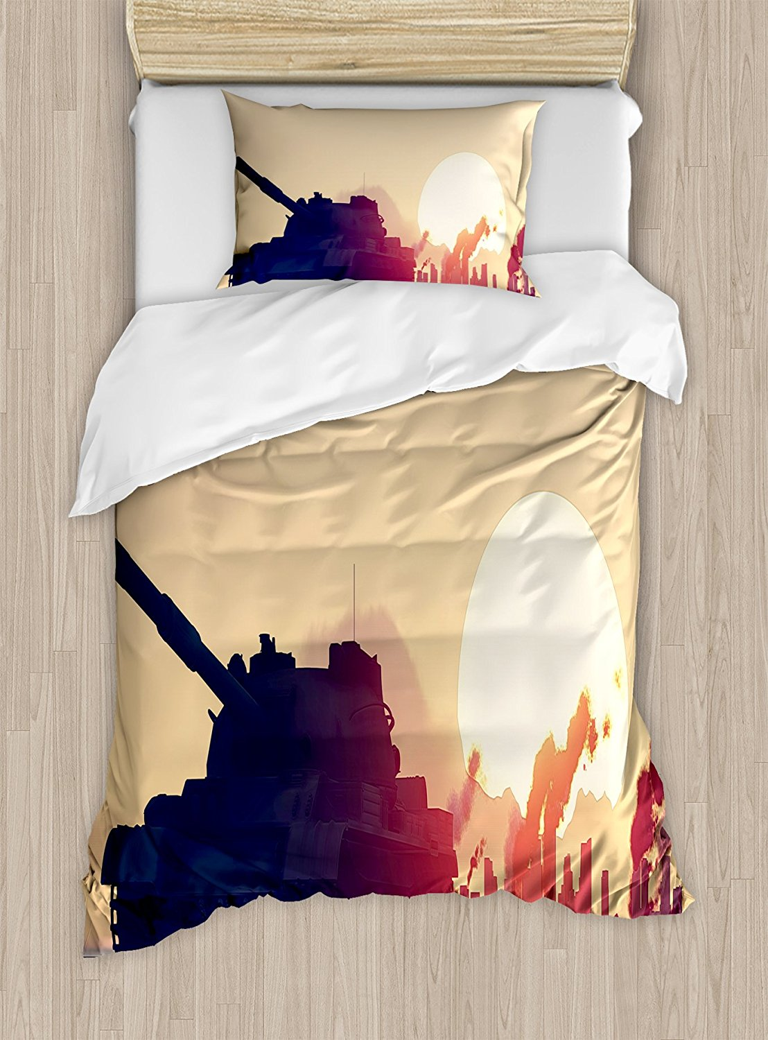 Military Duvet Cover Set Tank and Ruined City Skyscrapers Landscape at Sunset Flames and Smokes in City 4 Piece Bedding Set