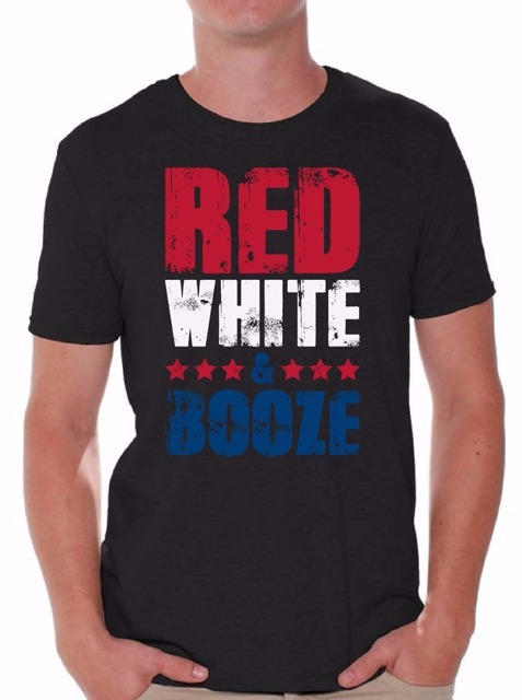 dcfad363 Tee Shirts Online Crew Neck Short Red White And Booze Men's T Shirt Tops  Usa Flag 4Th Of July Party Gift Mens Shirts