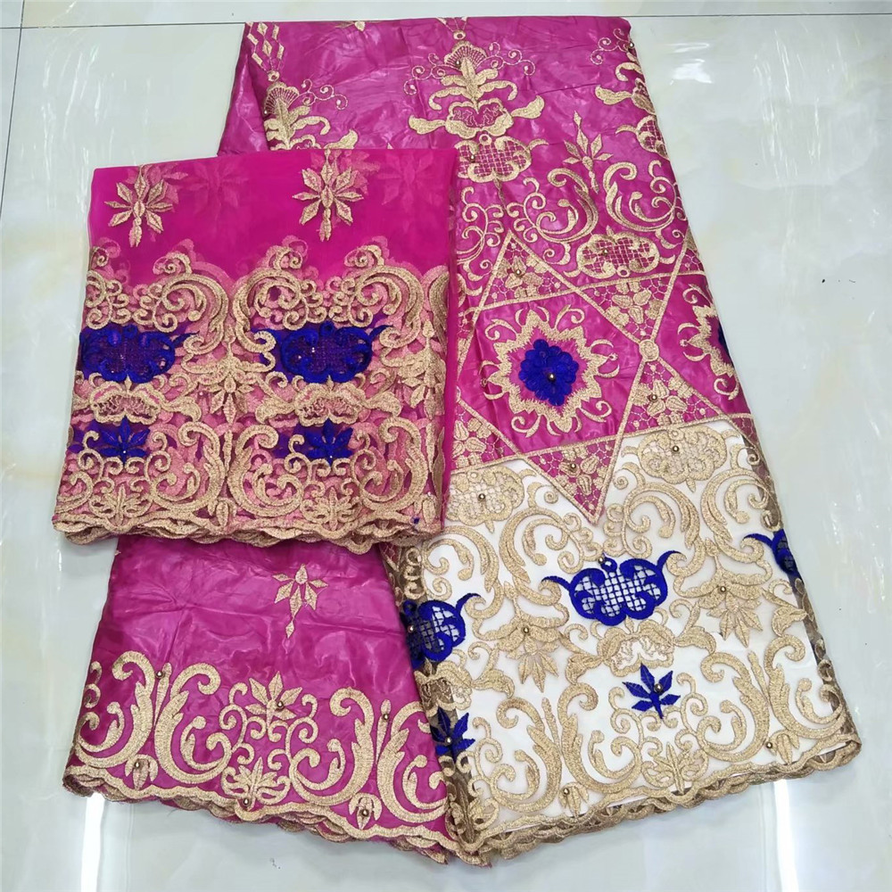jacquard brocade fabric african bazin riche getzner brode with beads high quality with french lace headtie 5+2yardlotW5900
