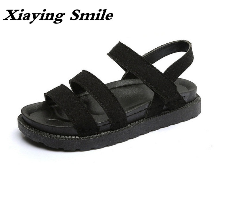 Xiaying Smile Summer Woman Sandals Casual Fashion Women Flats Shoes Loop Platform Gladiator Flock Thick Sole Rubber Women Shoes xiaying smile summer new woman sandals platform women pumps buckle strap high square heel fashion casual flock lady women shoes