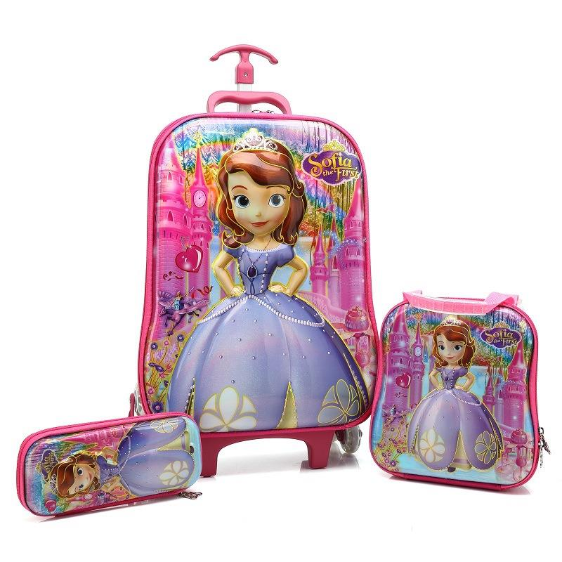 HOT 3PCS/set 5D Students Trolley Case Child Climb Stairs Luggage Children EVA Travel Bag Cartoon Suitcase Pencil Box Kids Gift