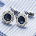 VAGULA Sea Blue Crystal Cuff links Top Quality Lawyer Groom Wedding Cufflinks Shirt Cuffs Para Camisas Gemelos 389