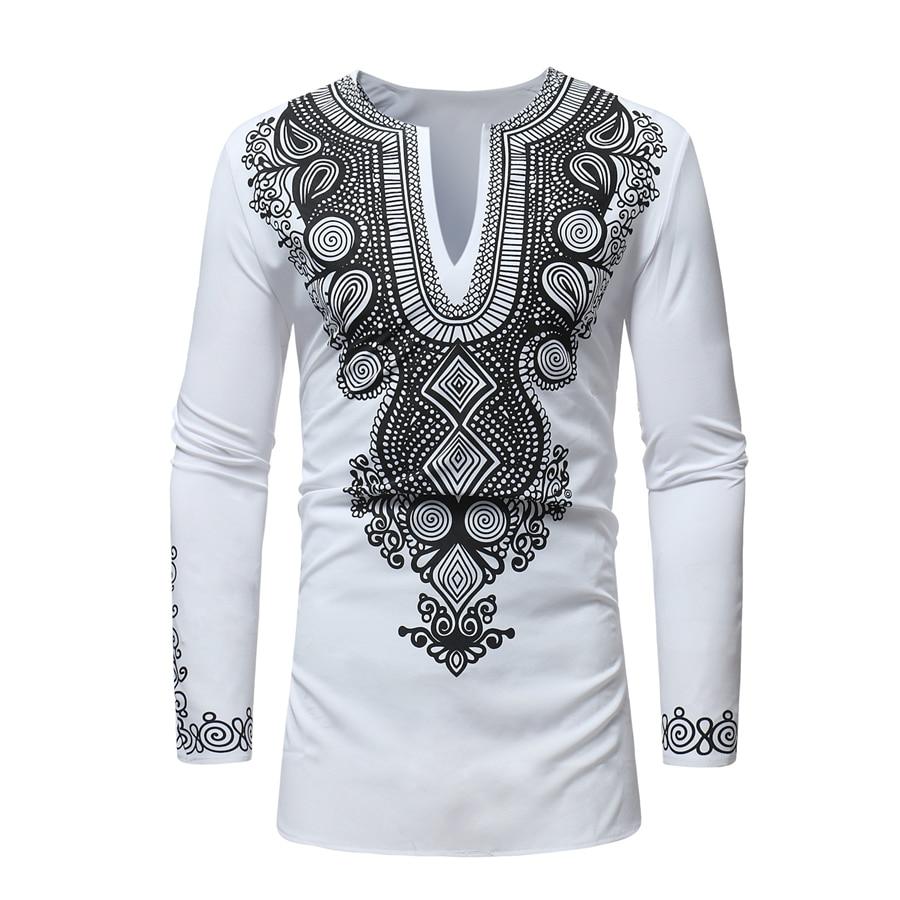 Free shipping 2017 African dashiki style national wind printing V-neck long sleeve men's T-shirt Plus size