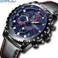 Роскошные брендовые военные спортивные часы для мужчин CRRJU Новый хронограф аналоговые кварцевые мужские наручные часы повседневные кожаны...