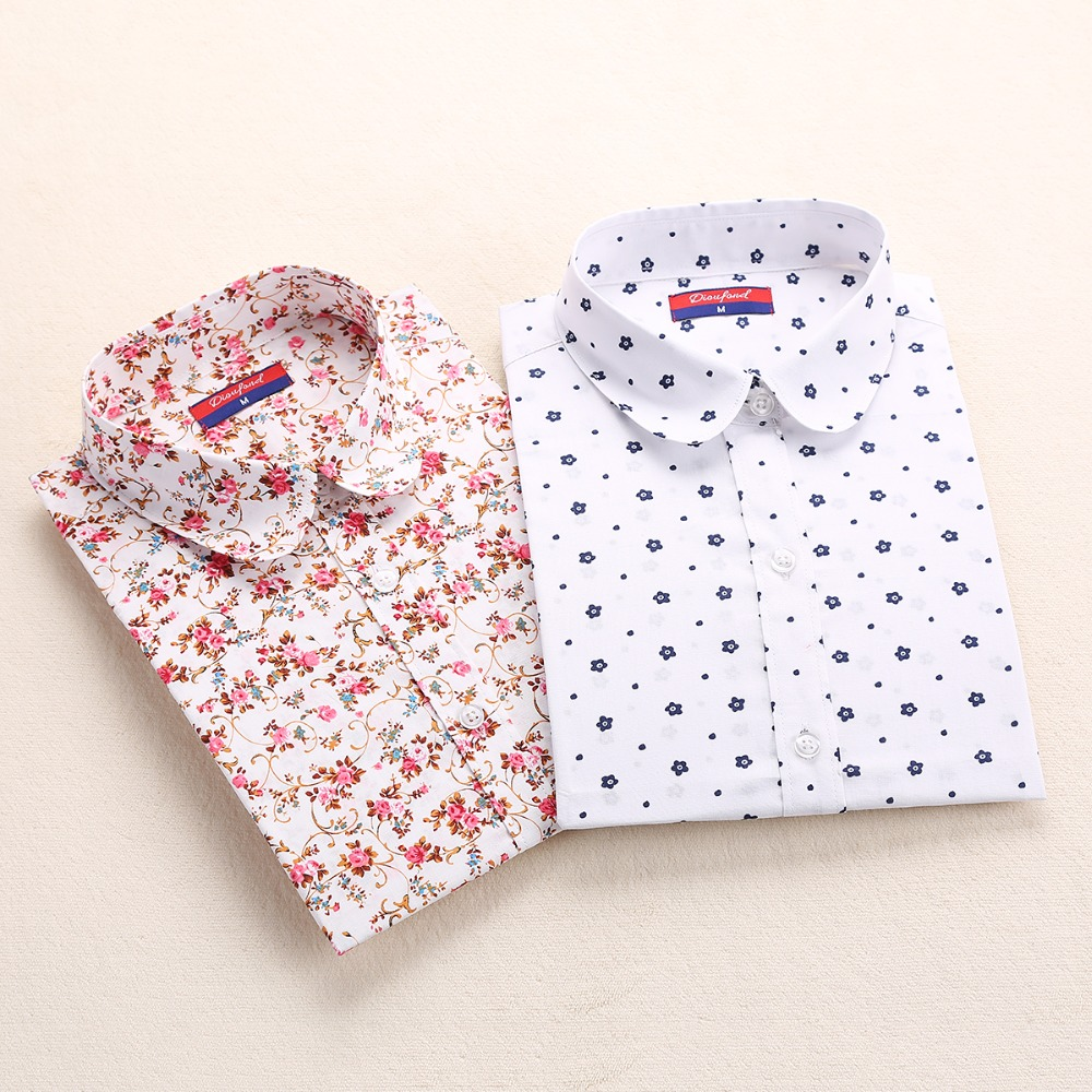 New Cotton Women Vintage Shirts Turn Down Collar Shirt Blusas Femininas 5XL Plus Size Long Sleeve Blouses Floral Women Tops 2016