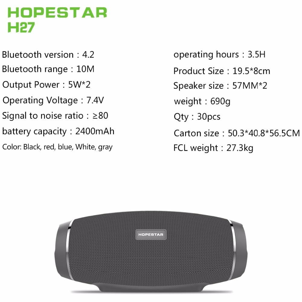 Image 2 - Hopestar Беспроводная колонка bluetooth динамик стерео Бас Сабвуфер computer2.1 звуковая коробка водонепроницаемый fm радио USB Mp3 музыкальный Бумбокс-in Портативные колонки from Бытовая электроника