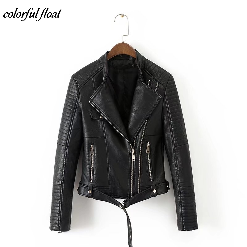 Early autumn fashion PU leather leather stitching motorcycle jacket leather jacket women W1005