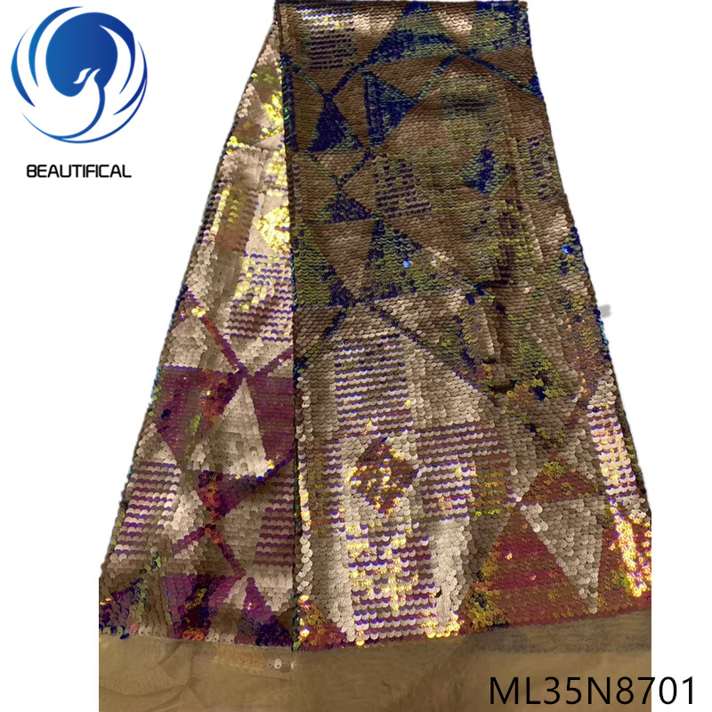 Beautifical nigerian lace fabrics Latest design sequins embroidery tulle lace fabric for women dress 5yards lace fabrics ML35N87